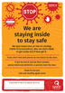 Stop - We are staying inside to stay safe (poster)